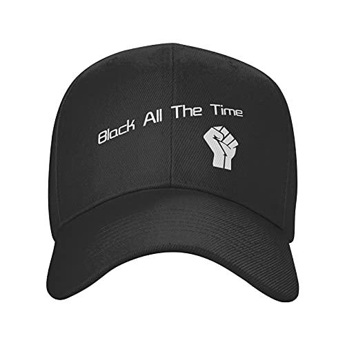 Jopath Black All The Time-4 Sombreros, Gorra de béisbol de algodón ajustable para papá Trucker Cap Golf Hat, Negro, Talla única