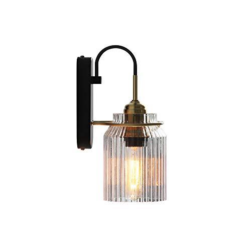 Moddeny Modernes Glas Laterne Wandleuchte Einfache Innen Schlafzimmer Nachtlicht E27 Edison Metall-Leuchter-Beleuchtung-Befestigung for Esszimmer Schlafzimmer Nacht Wohnzimmer Flur