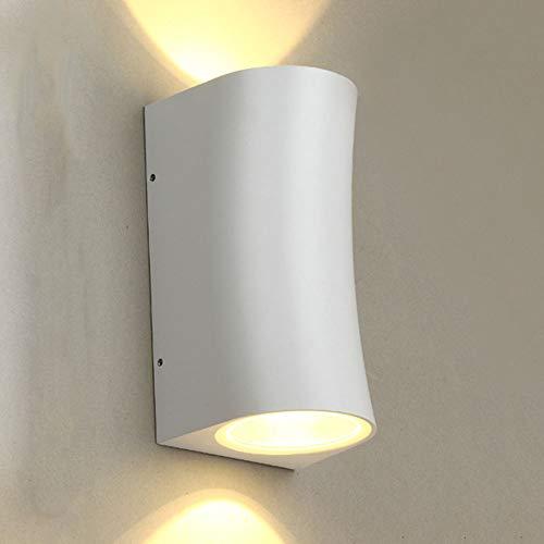JIRUFEI Led-tuinverlichting, wit, voor binnen en buiten, waterdicht, IP65, decoratie, moderne wandlamp, aluminium wandverlichting, warm licht, nachtlampje, 2 x 6 W, badkamer, woonkamer