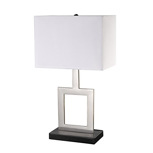 "Globe Electric 11388 Haven Table Lamp Finish, Black Base, White Shade, in-Line on/Off Rocker Switch, 21"", Brushed Nickel"