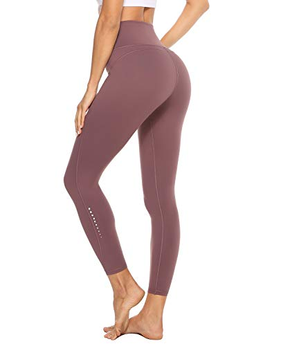 JOYSPELS Yoga Pants for Women with Pockets High Waisted Workout Leggings Spandex Exercise Running Athletic Leggings(Pale Mauve,S)