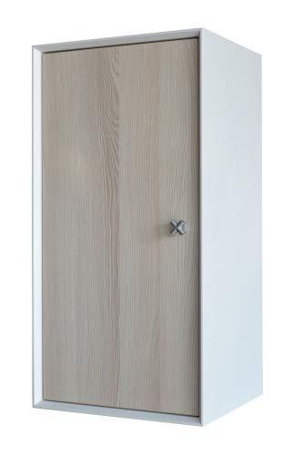 FACKELMANN Unterschrank IX! / Badschrank mit Soft-Close-System/Maße (B x H x T): ca. 35 x 70 x 30 cm/hochwertiger Schrank/Türanschlag frei wählbar/Korpus: Weiß/Front: Braun/Breite 35 cm