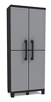 Keter Storage Cabinet with Doors and Shelves - Perfect for Garage and Basement Organization, Grey from Keter