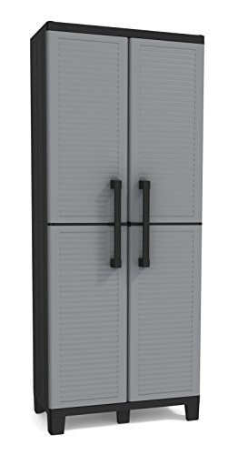 Keter Storage Cabinet with Doors and Shelves-Perfect for Garage and Basement Organization, Grey, 12 Sq Ft