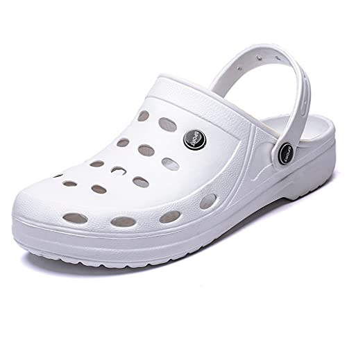 Zapatillas de Verano Zapatos de Agujero Antideslizantes de Soled Soft-SOFTSET sobre Sonidos OUTTINAL Cómodo (Color : White, Size : 43)