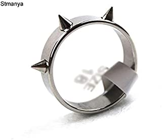 Rivets Ring | New Korean Version of Punk Spikes Personality 3 Rivet Stainless Steel Couple Ring | Titanium Steel Rings