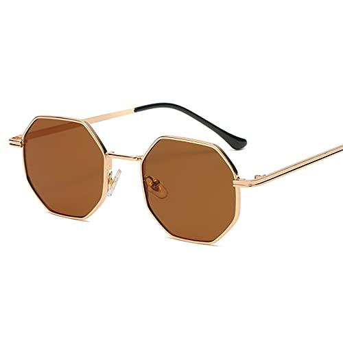 Q4S Gafas De Sol para Hombre Octogonales De Metal para Mujer,Oro Rosa