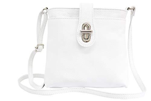 AmbraModa Borsa da donna in vera pelle, borsa a tracolla, borsa a spalla, city bag GL007 (bianco)