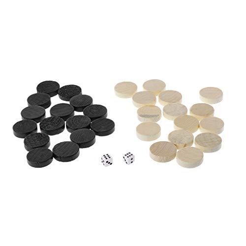 BELTI Piezas de ajedrez de Backgammon de Damas de Bosquejo de Madera 30 Piezas para Juego de Mesa para niños 2 Dados