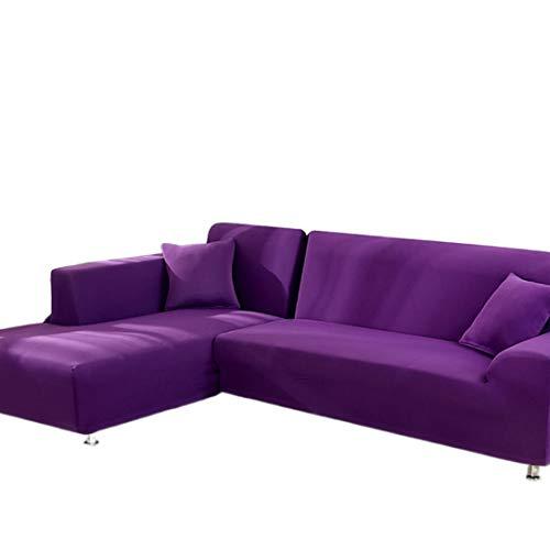 AllRing Sofabezug L-Form Ecksofa Sofa Spannbezug Stretch Sofabezug Set für 1-4 Sitzer Sofa(Wenn Ihr Sofa für L-Form Ecksofa ist, müssen Sie Zwei (Purple,2-Seater 145-185cm)