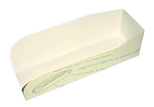 Imballaggi Alimentari - Cuña de cartón alimentario para perritos calientes - Ideales para presentar en eventos, ferias, establecimientos de comida rápida - Paquete de 100 unidades