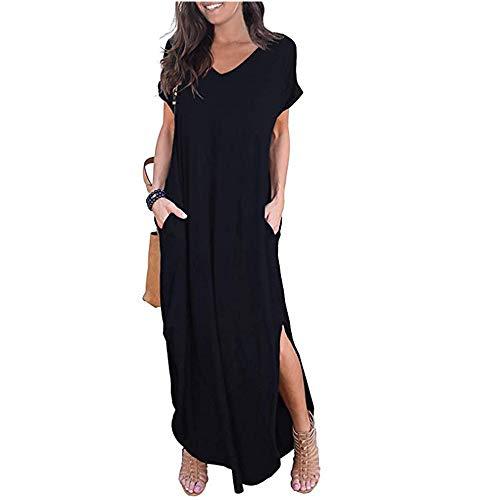 Newbestyle Damen Kleid Maxikleider Damen Freizeitkleider Sommerkleid Lang Damen Kurzarm Kleider mit Taschen (Schwarz, M)