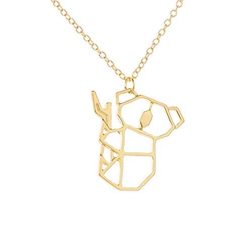 Peculiaro Collar Koala Oro, Joya de Origami & Collar geométrico Oro Mujer, bañado en Oro, Joyería para niñas y Mujeres, perteneciente a la colección Geometric Nature