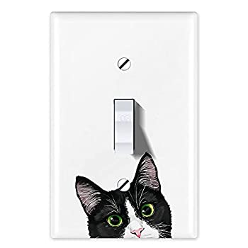 WIRESTER Single Gang Toggle Light Switch Plate/Wall Plate Cover - Black White Tuxedo Cat