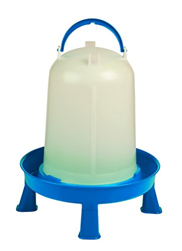 Poultry Waterer with Legs (Blue & White) - Durable Water Container with Carrying Handle for Chickens & Birds (2.5 Gallon) (Item No. DT9878)