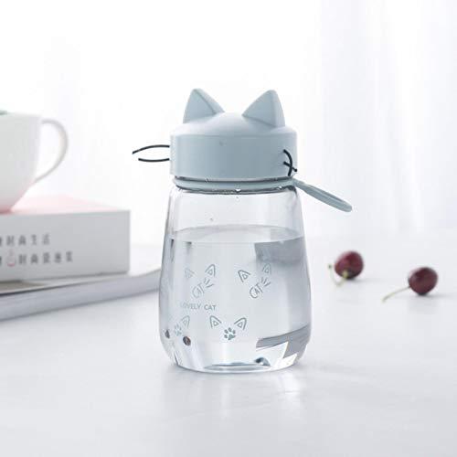 shian Taza de Agua de plástico, Jugo para Deportes al Aire Libre, Simple a Prueba de caídas, Lindo Gato, protección Ambiental, Botella de Agua portátil, Azul