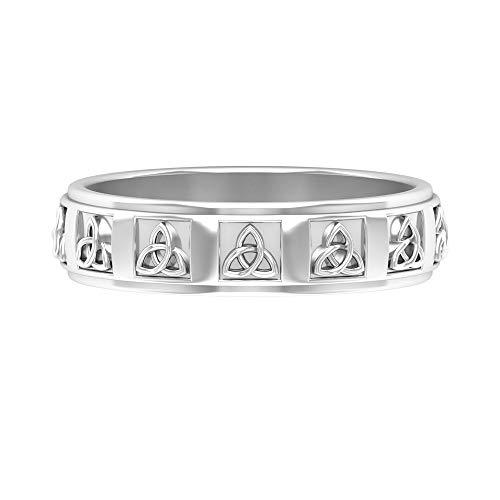 Anillo de boda de filigrana, anillo grabado antiguo, anillo de novia Art Deco, anillo de oro de metal mezclado, anillo de declaración único, anillo de aniversario, 14K Oro blanco, Size:EU 44