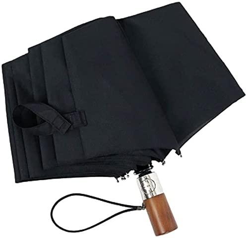 Paraguas plegable automático con mango de madera, protección UV y paraguas a prueba de viento negro