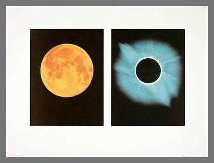 Germanposters Shigemi Numazawa Full Moon Total Solar Eclipse 11.07.1991 Poster Kunstdruck mit Alu Rahmen in Champagne
