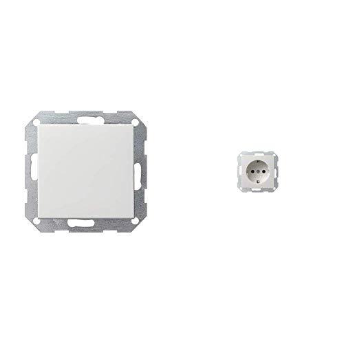 Gira 012603 Tastschalter Wechsel System 55 250 V, Weiß & 018803 Schuko Steckdose System 55, reinweiß