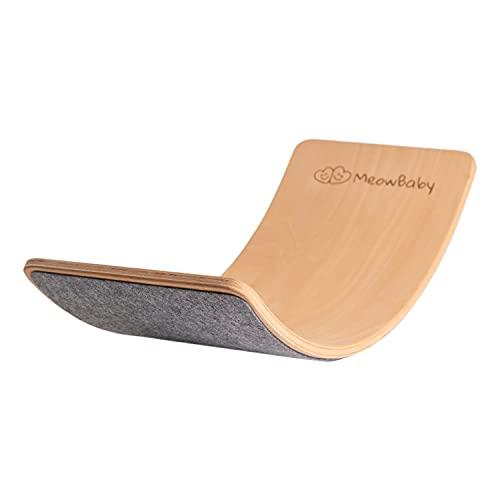 MEOWBABY Balance Board Balancierbrett aus Holz 80x30 cm Wackelbrett Filz für Kinder Gleichgewicht Spielzeug für Baby Kurviges Board Montessori Waldorf Pikler Grau Made in EU