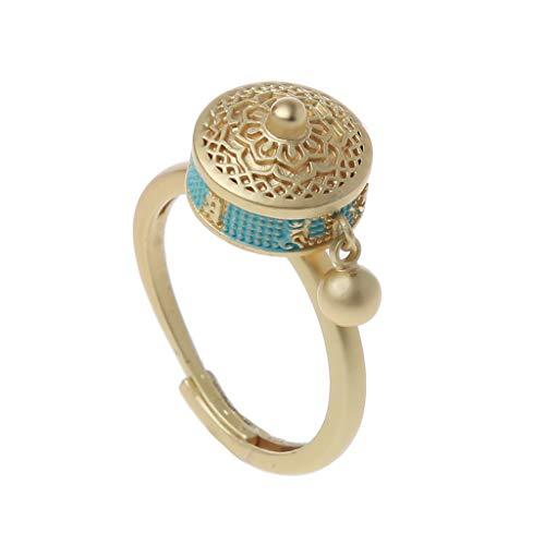Myya Rotating Rings Buddhist Tibetan Prayer Wheel Ring OM Mantra Finger Ring Good Luck Lotus Floral Enamel Rotating Ring Band