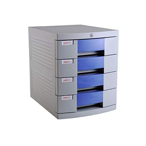 LHQ-HQ Desktop-Fach Sorter 4-Schicht-Kunststoff Schubladenschloß Storage Data Office-Rack-298 * 382 * 366mm (11.9in * 15.3in * 14.6in) Zeitungsständer
