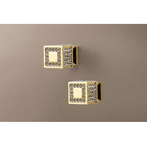 2 pomos de cristal con diamantes de imitación, tiradores cuadrados de cajón, de aleación de zinc, tiradores de armario con tornillos, para muebles de oficina, cocina, dormitorio, baño (dorado)