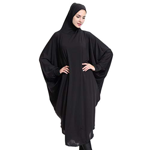 dailymall 女性 イスラム教徒 マキシ ドレス アバヤ ワンピース 長袖 カジュアル 全3サイズ4色 - ブラック, XL