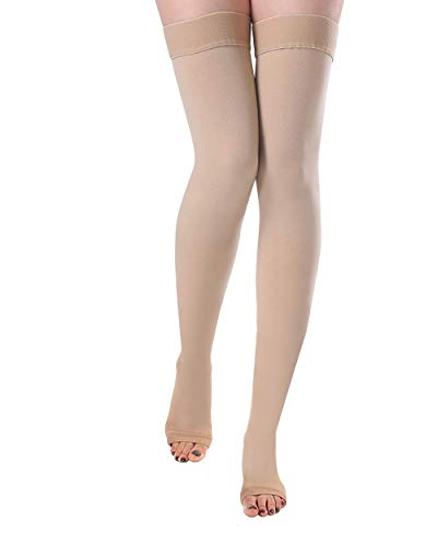 DCCDU Women's Medical Thigh High Compression Stockings Support 20-30mmHg Socks Tights Hose for Varicose Veins Edema