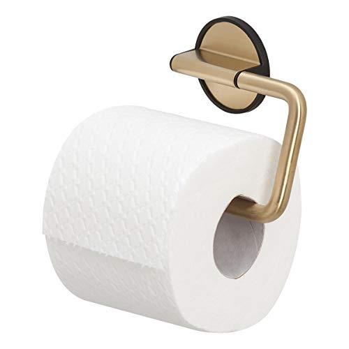Tiger Tune Toilettenpapierhalter, Montage ohne Bohren dank integrierter Klebefolie, optional Befestigung zum Schrauben, Messing gebürstet/Schwarz, 150 x 100 x 26 mm