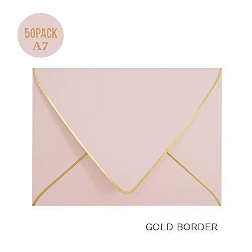 A7 Pink Envelopes 5 x 7 - V Flap, Quick Self Seal, with Gold Border, for 5x7 Cards| Perfect for Weddings, Invitations, Photos, Graduation, Baby Shower|Thick Luxury Paper (Pink-Golden Border)