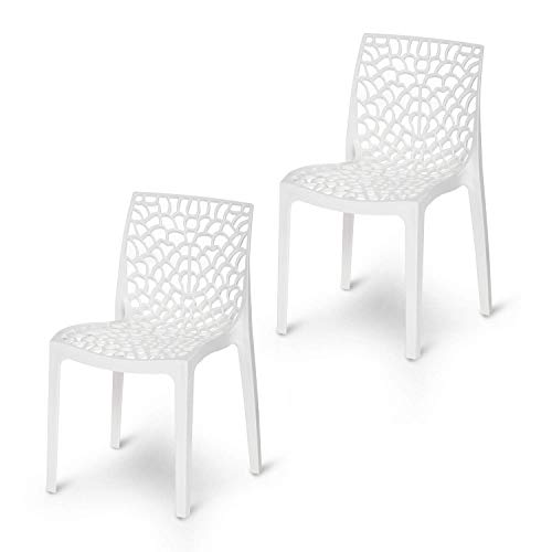 Supreme Web Plastic Chairs for Home, Outdoor & Garden (Set of 2, Milky White)