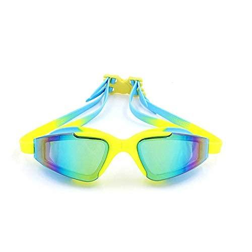 Peakfeng Niños Natación Gafas Profesionales Natación Gafas Adultos Jóvenes Hombres Anti Niebla Impermeable Gafas Gafas Nadar Piscina Eyewear Equipo de Buceo (Color : Sky Blue with Yellow)
