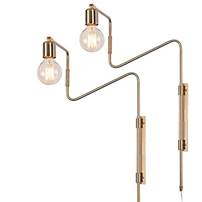 Swing Arm Wall Sconce Plug in Ultra Thin Flexible Retro Wall Lamp Brass Plating Plug in Hard Wired Industrial Retro Rustic Antique Wall Lamp for Living Room Bedroom, Set of 2