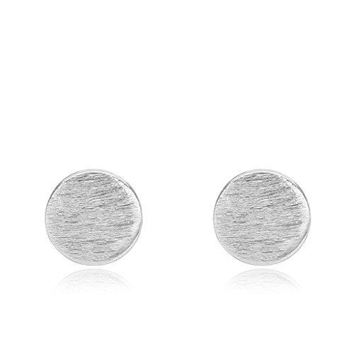 Beydodo in argento Sterling 925da Donna Collana Orecchini (orecchini Stud) forma rotonda design semplice per regalo di compleanno