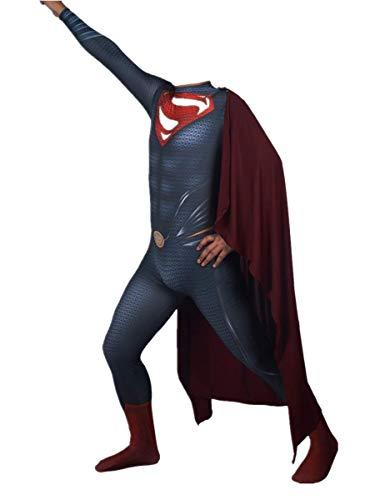 Superman Cosplay Disfraz de anime, The Man Of Steel Movie Fans Apparel Mono de superhroe para disfraces, Disfraces de Halloween Cosplay Juego de roles Medias conjuntas Traje de batalla,Kids M-A