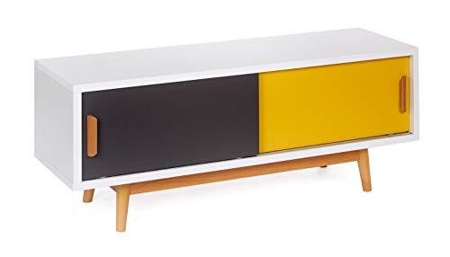 ts-ideen dressoir commode lowboard tv-bank wit geel donkergrijs 120 x 50 cm