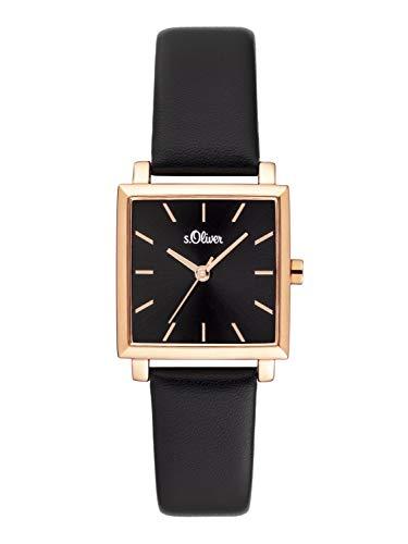 s.Oliver Damen Analog Quarz Uhr mit Leder Armband SO-3818-LQ
