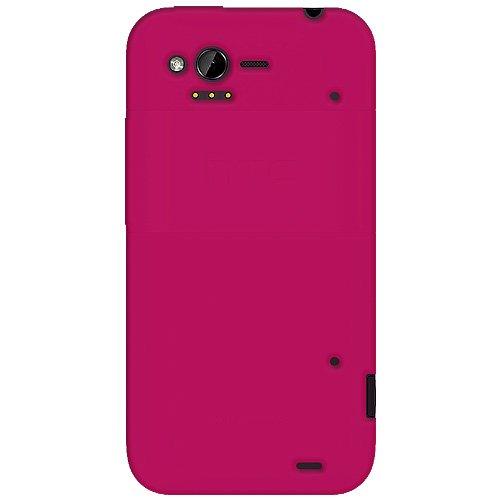 Amzer AMZ92528 Hot Pink Silicone Jelly Skin Fit Cover Case for HTC Rhyme - Retail Packaging - Hot Pink