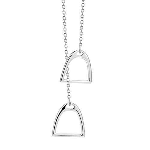 0 925 Sterlingsilber Doppelglück Halskette Hufeisen Hufeisen Anhänger Halskette Unisex Schmuck