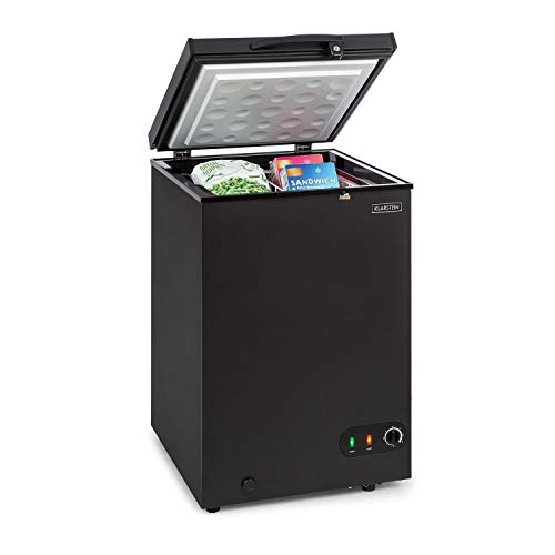 KlarsteinIceblokk 100 - Congelador, Compartimento de congelado 4 estrellas, 98 L, Cesta extraíble, Cubierta abatible, Cerradura, Eficiencia energética clase A+, Diseño compacto, Negro mate
