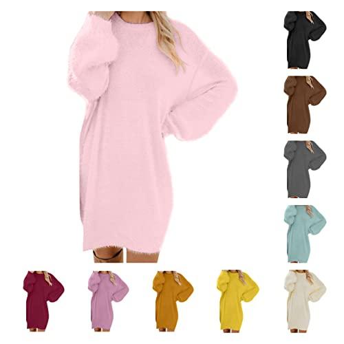 HHWY Vestido de punto para mujer de invierno, elegante, cuello redondo, de forro polar, jersey, jersey largo, grande, de invierno, manga larga, gris, L