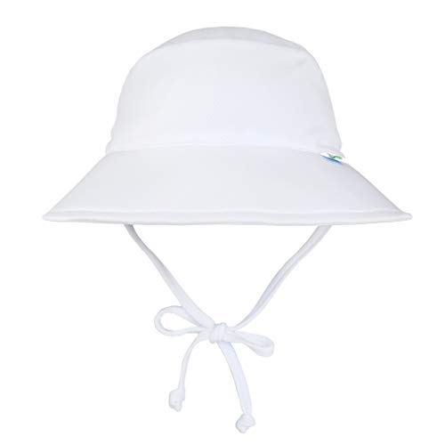 i play. by green sprouts Baby Breathable Swim & Sun Bucket Hat, White, 2T/4T