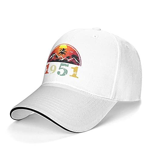 Vintage 1951 Sun Hat Adjustable Sandwich Cap Unisex Classic Baseball Cap Outdoor Sun Visor Cap Trucker Hat White