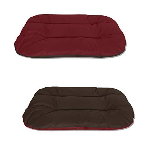 BedDog® 2in1 hondenmand REX dubbelzijdig ovaal hondenkussen, grote hondenbed, hondensofa, wasbaar, L rood/bruin