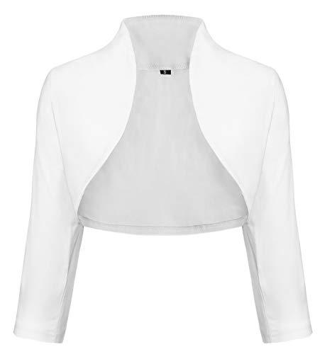 TrendiMax Damen Eleganter Bolero Jacke Schulterjacke Kurzes Jäckchen 3/4 Ärmel,Weiß,S