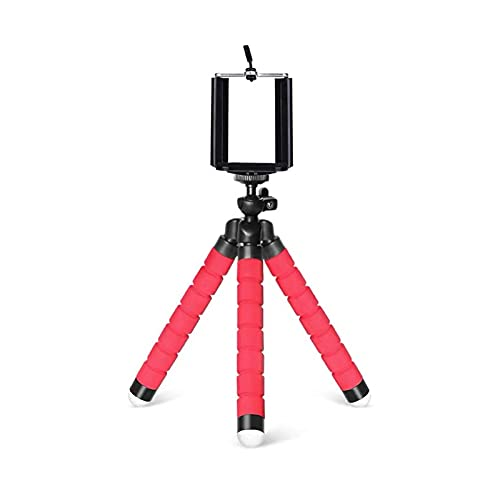 JKXWX Adjustable Cell Phone Stand for Desk Flexible Phone Tripod 360°Rotation Flexible Travel Tripod for Smartphone cell phone holder Phone Stand (Color : Red)