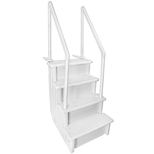 Aqua Select Above Ground Anti-Slip Pool Steps to Deck   Safety Swimming Pool Ladder   Designed for Above Ground Swimming Pools   Holds Up to 400 Pounds   White