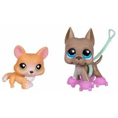 Littlest Pet Shop Corgi & Great Dane Pet Pairs #183 #184 by Hasbro